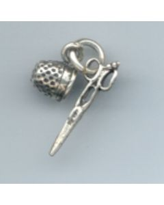 Sterling Silver Scissors & Thimble Charm