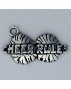"Sterling Silver Pom Poms Charm: ""Cheer Rules"""