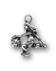 Sterling Silver Basketball Player Charm, Girl LL-1058