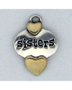 Sterling Silver Sisters Charm: Sisters Disc w/ Brass Hearts