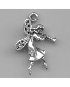 Sterling Silver Fairy Charm: w/ Flute