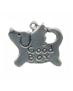 "Sterling Silver Dog Charm: Flat w/ Wings, ""Good Boy"""