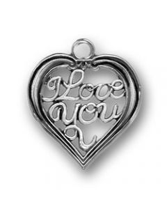 "Sterling Silver Love Charm: Open Heart W/""I Love You"" LLL-2071"