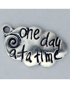 "Sterling Silver Inspirational Charm: ""One Day At A Time"""