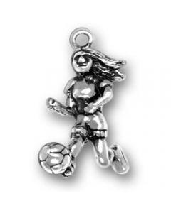 Sterling Silver Soccer Charm: Player Female