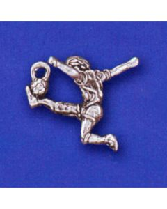 Sterling Silver Soccer Charm: Player Male