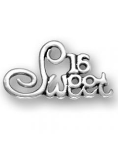 "Sterling Silver Birthday Charm: ""Sweet 16"""