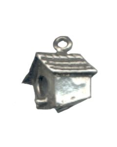 Sterling Silver Birdhouse Charm: Angled View