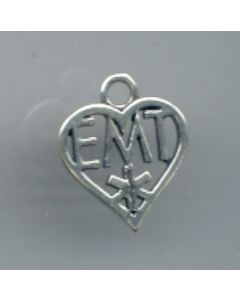 "Sterling Silver Emt Charm: ""Emt"" In Open Heart"