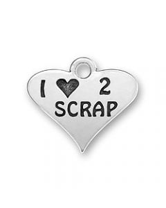"Sterling Silver Scrapbooking Charm: ""I * 2 Scrap"" On Heart"