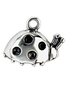 Sterling Silver Ladybug Charm: One Sided, Side View, Small