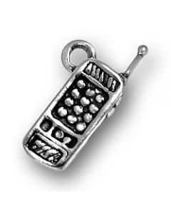 Sterling Silver Telephone Charm: Cell Phone, Small