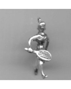 Sterling Silver Tennis Charm: Player, Female N-449a