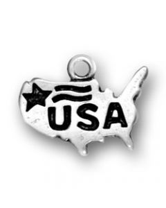 "Sterling Silver Usa Charm: ""USA"" On Map"
