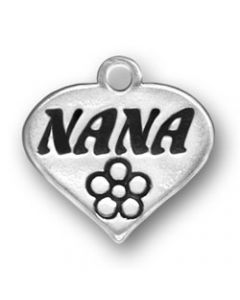 "Sterling Silver Grandmother Charm: ""Nana"" On Heart"