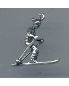 Sterling Silver Ski Charm: Snow Skier, Male