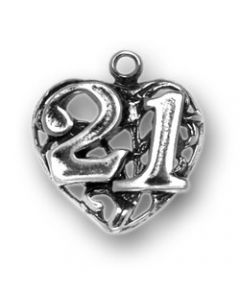 """Sterling Silver Birthday Charm: """"21"""" on Heart"""