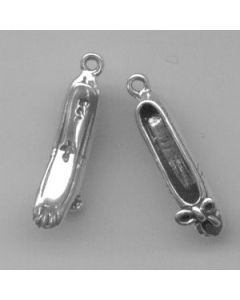 Sterling Silver Ballet Charm, Toe Shoes, Pair