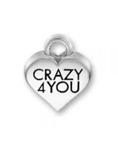"Sterling Silver Heart Charm: Conversation Heart, ""Crazy 4 You"""
