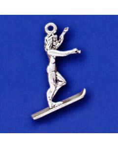 Sterling Silver Water Skier Charm, Female, 3D