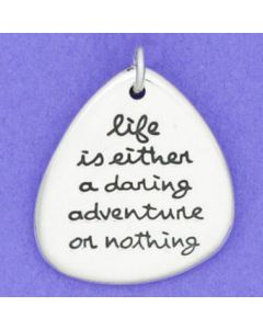 "Sterling Silver Pendant: Pear ""life is either a daring adventure or nothing"""