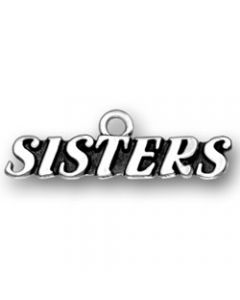 "Sterling Silver Sister Charm: ""Sisters"""