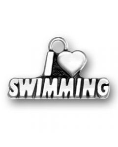 "Sterling Silver Swimming Charm, ""I * Swimming"""
