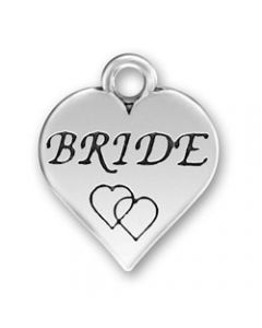 "Sterling Silver Wedding Bridal Party Charm: Heart w/ ""Bride"" and 2 Hearts"