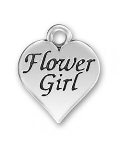 "Sterling Silver Wedding Bridal Party Charm: Heart w/ ""Flower Girl"""