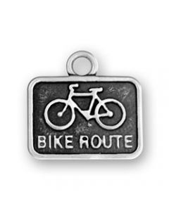 """Sterling Silver Bike Charm: """"Bike Route"""" Sign PPP-2211"""