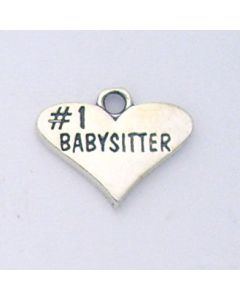 "Sterling Silver Babysitter Charm: ""#1 Babysitter"" On Heart"