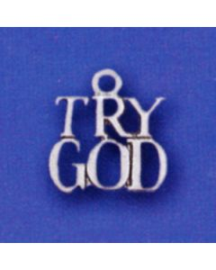Sterling Silver Try God Charm