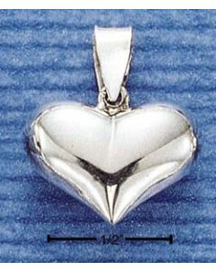 Sterling Silver Heart Charm: Puff, Wide, High Polish  R-566