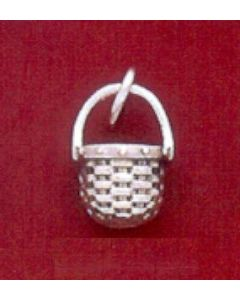 Sterling Silver Basket Charm: Apple Basket, Mini