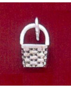 Sterling Silver Basket Charm: Berry Basket, Mini