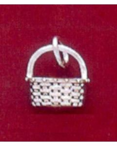 Sterling Silver Basket Charm: Flower Basket, Mini