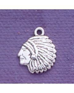Sterling Silver Indian Chief Charm: Small