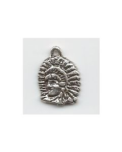 Sterling Silver Indian Chief Head Charm: Small