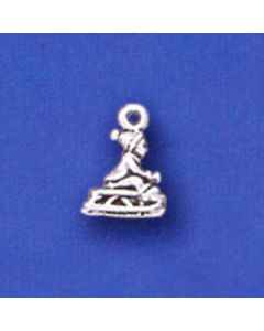 Sterling Silver Child On Sled Charm: Small