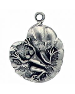 Sterling Silver Frog Charm: On Lily Pad