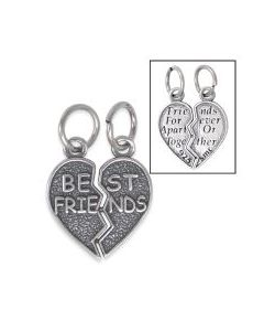 "Sterling Silver Best Friends Charm: Two-Piece ""Best Friends Heart"