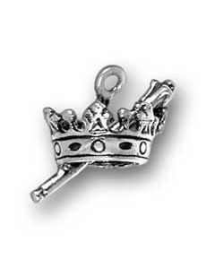 Sterling Silver Crown Charm: w/ Scepter