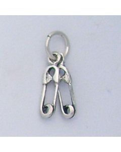 Sterling Silver Baby Diaper Pins Charm