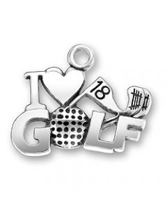 "Sterling Silver Golf Charm: ""I * Golf"" SS-1262"
