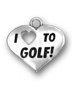 "Sterling Silver Golf Charm: ""I * To Golf"" On Heart"