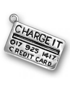 Sterling Silver Charge Card Charm: Charge It Credit Card