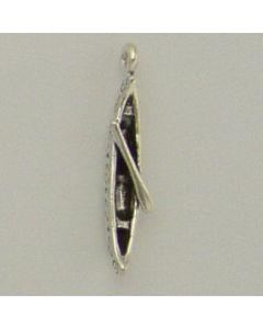 Sterling Silver Canoe Charm: w/ Paddle