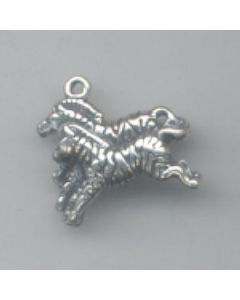 Sterling Silver Noah's Ark Charm: Pair Of Zebras