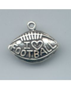 "Sterling Silver Football Charm: ""I Love Football"" On One-Sided Football SSS-2252"