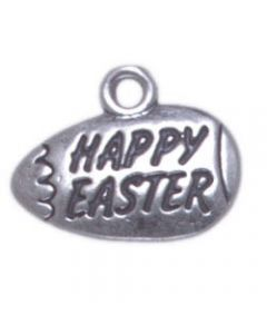 "Sterling Silver Easter Egg Charm: ""Happy Easter"" On Egg, Flat, One-Sided"